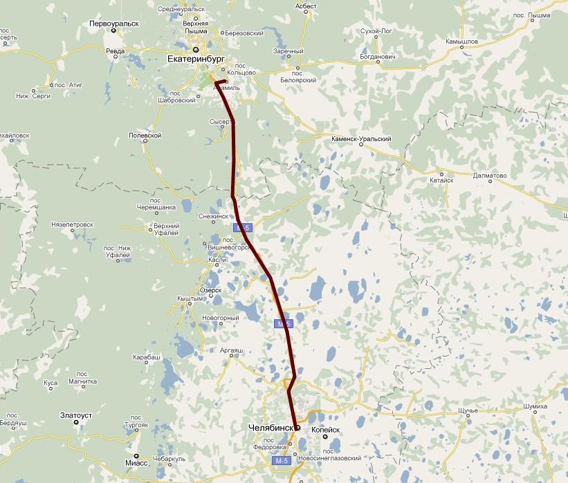 Екатеринбург - Челябинск Карта
