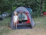Кемпинг. Максим на страже палатки