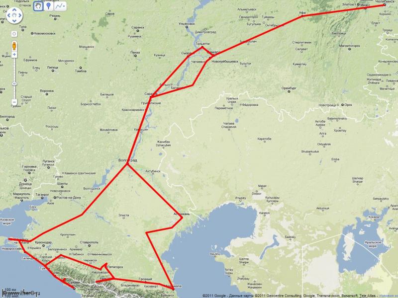 Кавказ 2009 карта