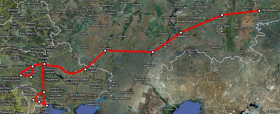 Карта пробега МотоУкраина 2008