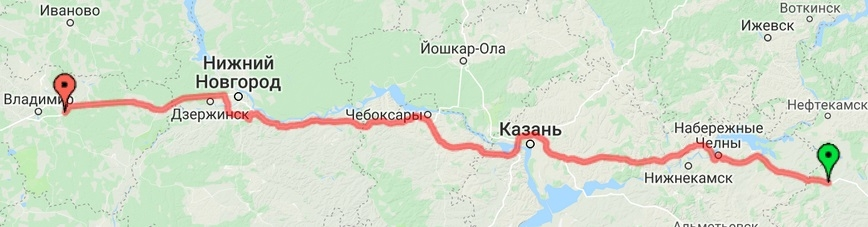 Уфа - Казань - Нижний Новгород - Владимир