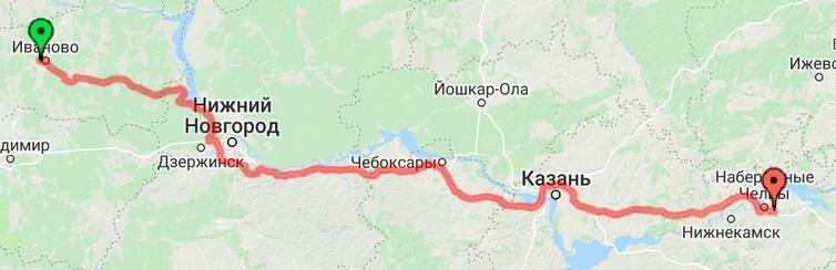 Пробег за 17 день. Иваново - Челны